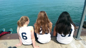Lily, Lucy, Elle at Waukegan Beach