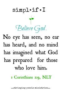 Believe God 1 Cor 2-9