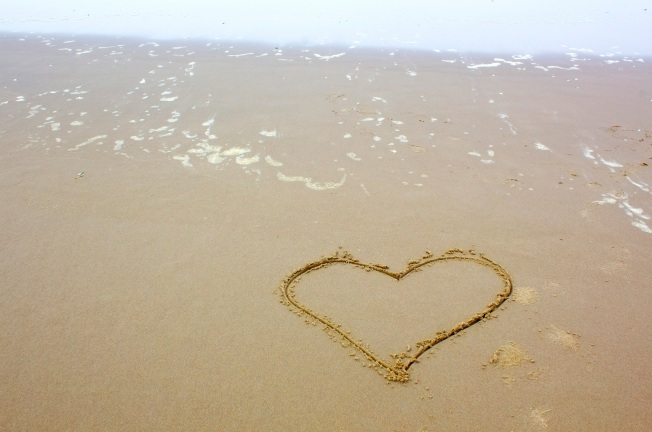 single heart on beach